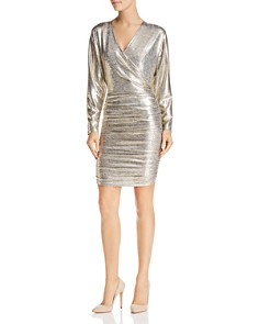 Alice and Olivia - Pace Ruched Metallic Dress