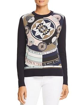 Tory Burch - Silk-Front Merino-Wool Sweater