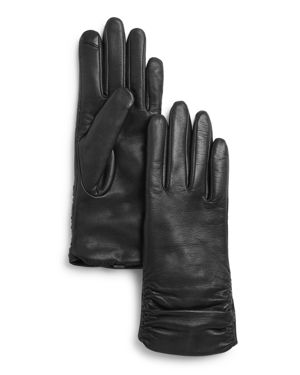 Fownes Metisse Ruched Leather Tech Gloves