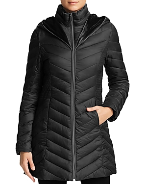 Laundry By Shelli Segal LAUNDRY BY SHELLI SEGAL MIXED QUILT PUFFER COAT