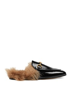 Gucci - Women's Princetown Patent Leather & Lamb Fur Mules