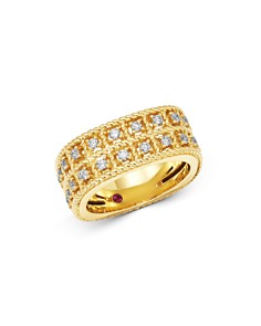 Roberto Coin - 18K Yellow Gold Byzantine Barocco Diamond Two-Row Ring