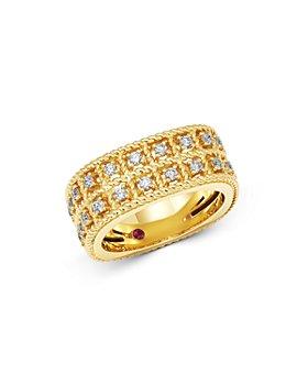 Roberto Coin - 18K Yellow Gold Byzantine Barocco Diamond Two-Row Ring