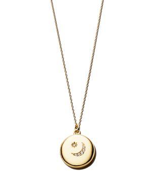 SASHA SAMUEL 14K Yellow Gold Plate Lia Locket Necklace With Moon Cubic Zirconia, 20