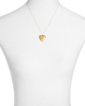 "Sasha Samuel - 14K Yellow Gold Plate Anouk Heart-Shaped Locket Necklace with Cubic Zirconia, 20"""