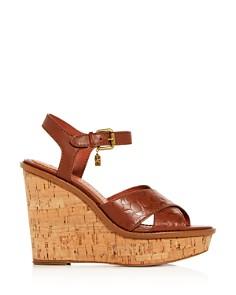 COACH - Women's Crisscross Wedge Platform Sandals
