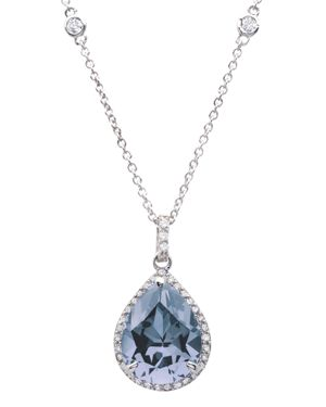 CRISLU Aqua Pendant Necklace In Platinum-Plated Sterling Silver, 16 in Blue/Silver