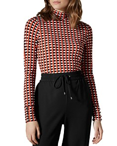 KAREN MILLEN - Check Mock-Neck Top