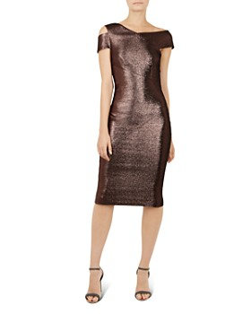 Ted Baker Maggz Metallic Body Con Dress