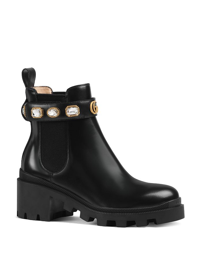 hot new products separation shoes new arrival Gucci Women's Trip Leather Ankle Boots with Crystal Belt ...