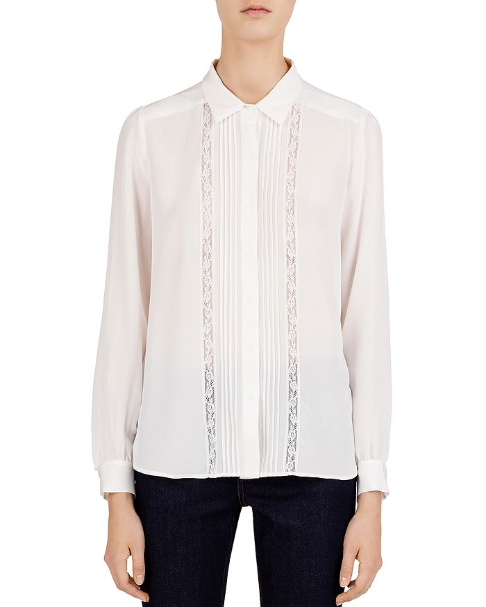 0e6a708554757 Gerard Darel - Leila Pleated Lace-Inset Silk Shirt