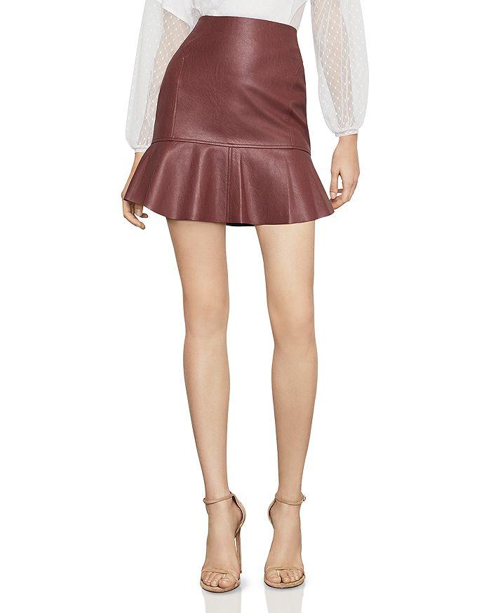 BCBGMAXAZRIA - Flounced Faux Leather Skirt