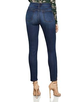BCBGMAXAZRIA - High-Rise Vented-Hem Skinny Jeans in Dark Indigo Wash