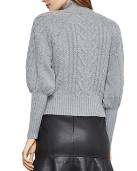 BCBGMAXAZRIA - Bishop-Sleeve Cable-Knit Sweater