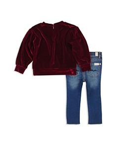 7 For All Mankind - Girls' Velvet Top & Asymmetrical-Hem Jeans Set - Baby