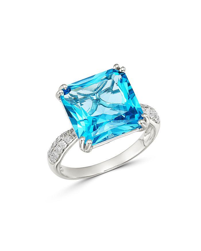 Bloomingdale's - Blue Topaz & Pavé Diamond Ring in 14K White Gold - 100% Exclusive