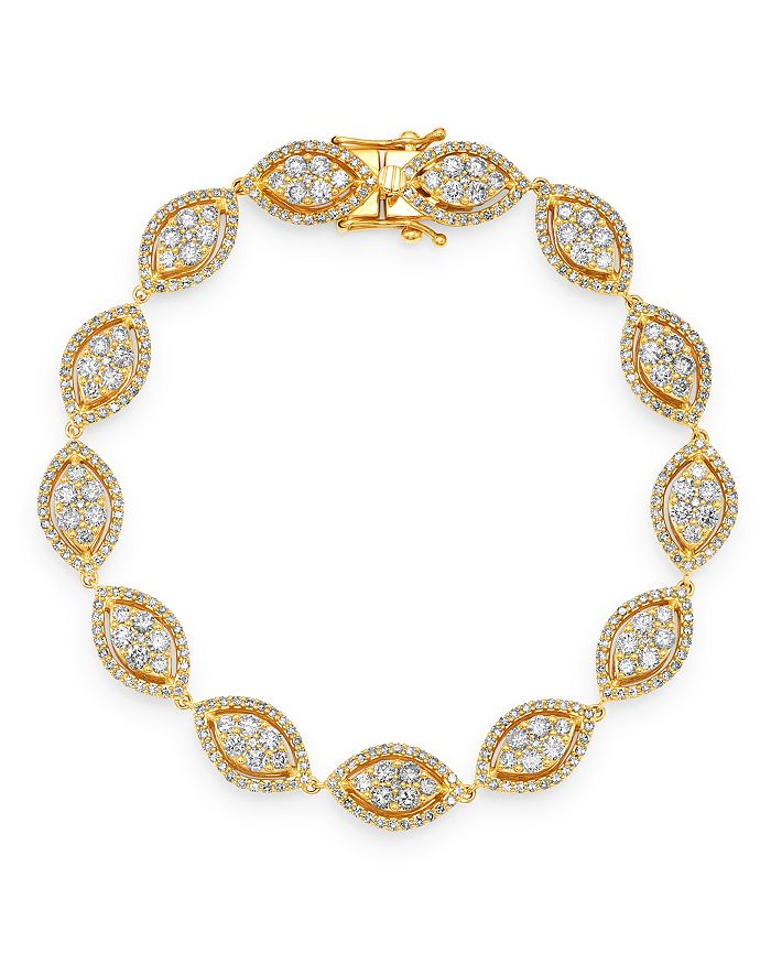 Bloomingdale's - Diamond Cluster Statement Bracelet in 14K Yellow Gold, 4.0 ct. t.w. - 100% Exclusive