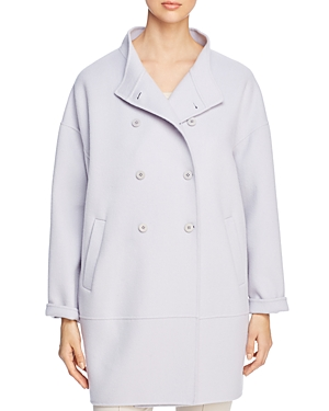 Eileen Fisher Stand-Collar Double-Breasted Coat