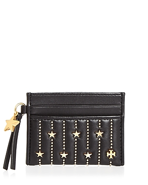 Tory Burch Slim Star Stud Leather Card Case