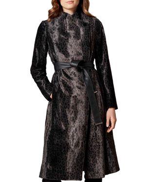 KAREN MILLEN Leopard Print Faux Fur Wrap Coat