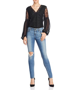 Alice And Olivia Brea Lace Detail Balloon Sleeve Top