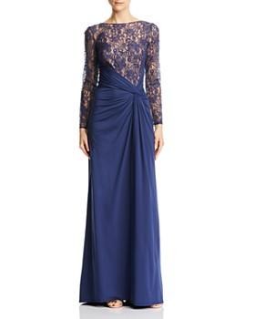 Tadashi Shoji - Draped Lace-Bodice Gown