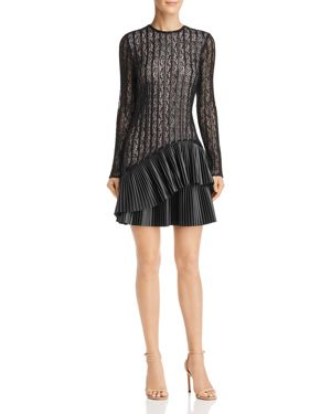 NHA KHANH Faux-Leather-Trimmed Lace Dress in Black