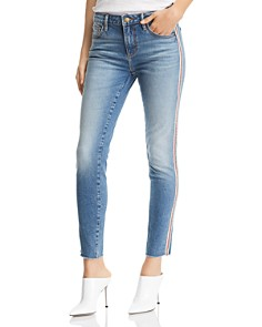 AQUA - Track Stripe Skinny Jeans in Indigo - 100% Exclusive