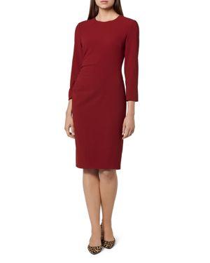 L.K.Bennett Hollie Ruched Crepe Dress in Red