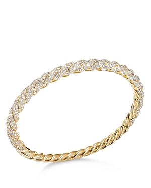 David Yurman Stax Twist Bracelet with Diamonds in 18K Yellow Gold