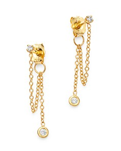 Zoë Chicco - 14K Yellow Gold Diamond Drop Earrings with Chain