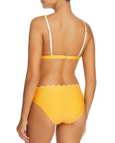 kate spade new york - Contrast-Scalloped French Bikini Top & Contrast-Scalloped Hipster Bikini Bottom