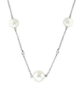 """Bloomingdale's - Freshwater Pearl & Diamond Station Necklace in 14K White Gold, 18"""" - 100% Exclusive"""