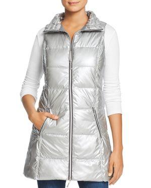 FILLMORE Long Down Puffer Vest in Silver