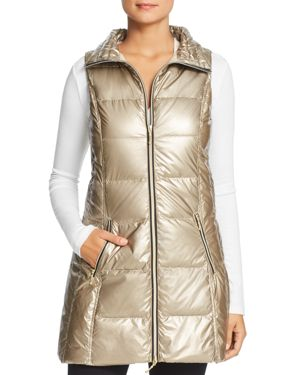 FILLMORE Long Down Puffer Vest in Gold
