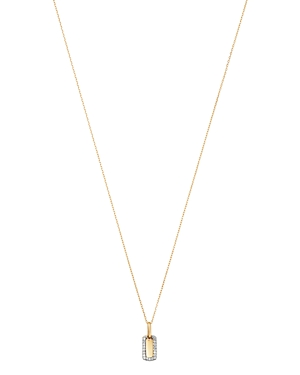 Adina Reyter 14K Yellow Gold Tiny Pave Diamond Dog Tag Necklace, 16