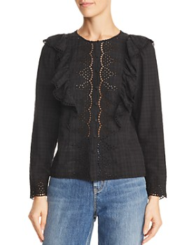 bf1f35e583b5d Rebecca Taylor - Embroidered Eyelet Ruffle Top ...