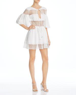 A MERE CO. Gustavia Crochet-Detail Dress in White