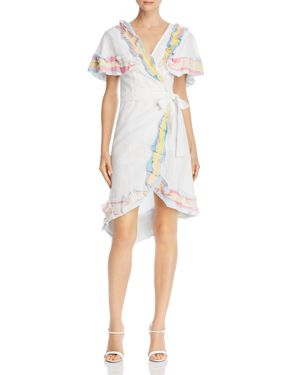 A MERE CO. Rainbow Ruffle Wrap Dress in White/Multi Ombre