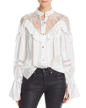 DIVINE HÉRITAGE Lace & Ruffle-Trim Blouse in White