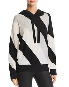 Minnie Rose - Striped Cashmere Hooded Sweater