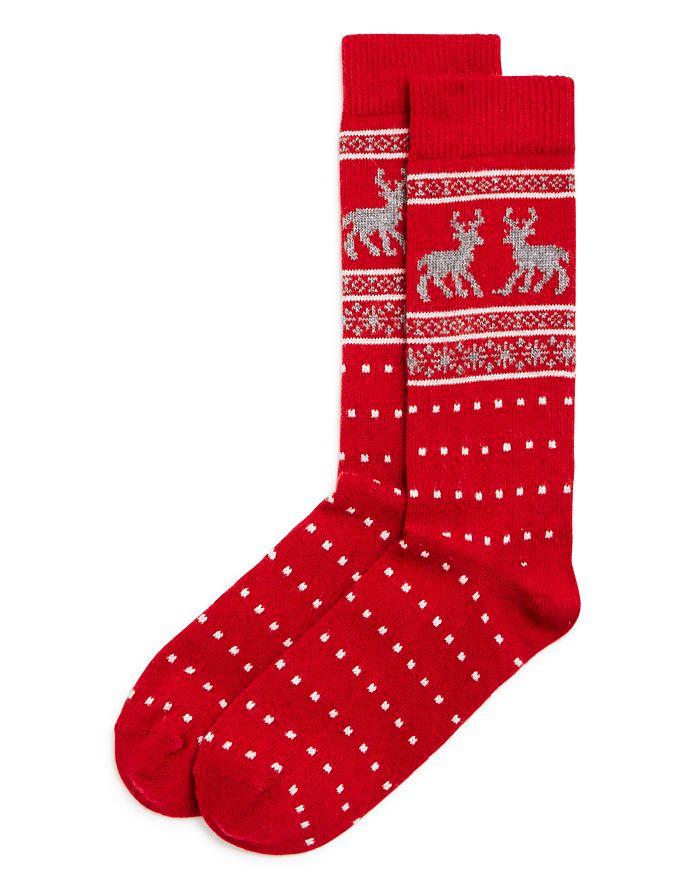 The Men's Store at Bloomingdale's - Fair-Isle Reindeer Dotted Socks - 100% Exclusive