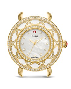 MICHELE - Lace Cloette White Mother-of-Pearl Dial & Diamond Bezel Watch, 38mm