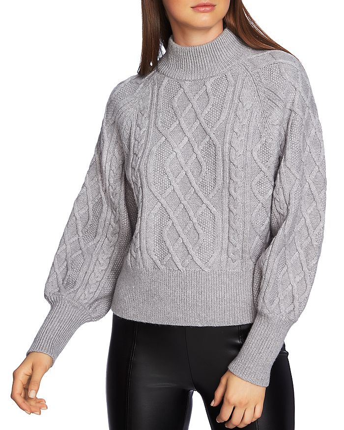 e9f455b626bc6 1.STATE Puff Sleeve Cable Knit Sweater