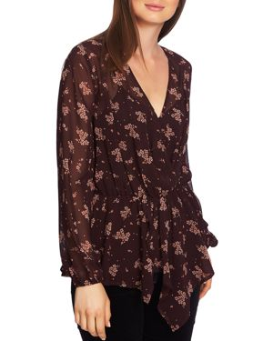 1.state Crossover Floral-Print Top