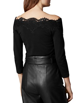 KAREN MILLEN - Lace-Trim Off-the-Shoulder Top