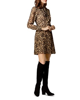 KAREN MILLEN - Pleated Leopard Print Dress