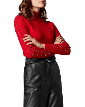 KAREN MILLEN Embellished-Sleeve Sweater in Red