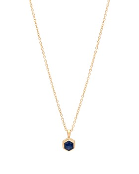 """Anna Beck - Blue Sapphire Geometric Necklace in 18K Gold-Plated Sterling Silver, 16"""""""