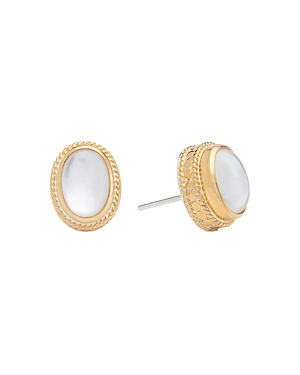 Anna Beck Mother of Pearl Oval Stud Earrings in 18K Gold-Plated Sterling Silver